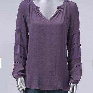 Simply Vera Vera Wang Lavender Pheasant Top XL